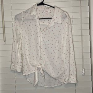 Lauren Conrad Button Up Tie at Bottom Sheer Blouse